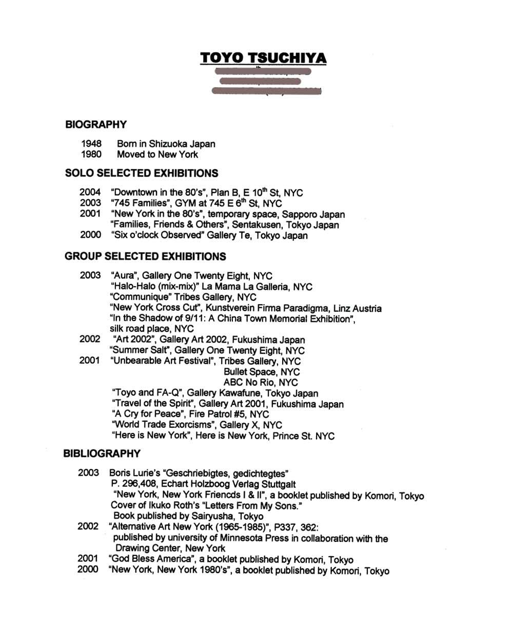 Toyo Tsuchiya's Resume